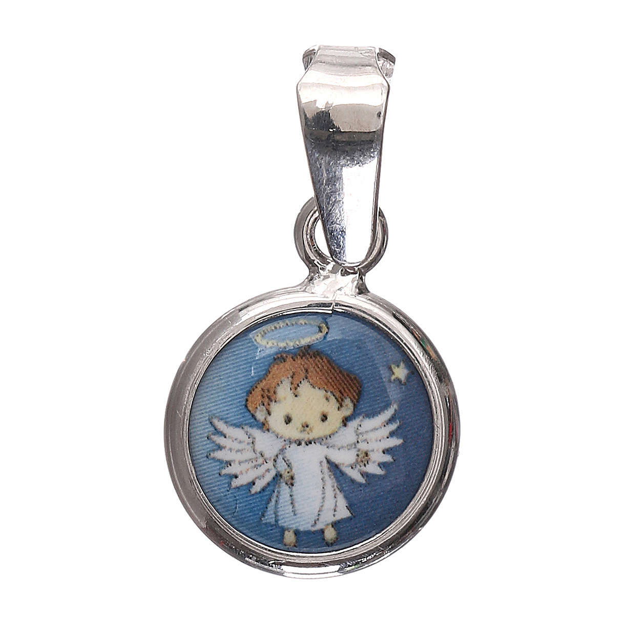Medalik okrągły porcelana/srebro 925 Anioł 1 cm 4