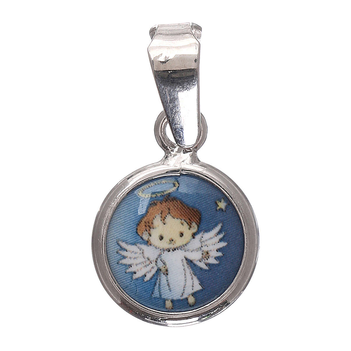 Round medal porcelain/925 silver angel 0.39 in 4