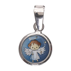 Round medal porcelain/925 silver angel 0.39 in s1