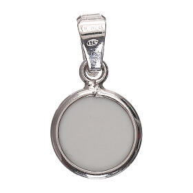 Round medal porcelain/925 silver angel 0.39 in s3