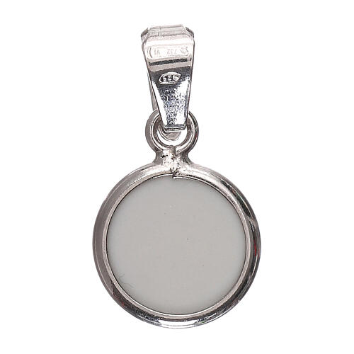 Round medal porcelain/925 silver angel 0.39 in 3