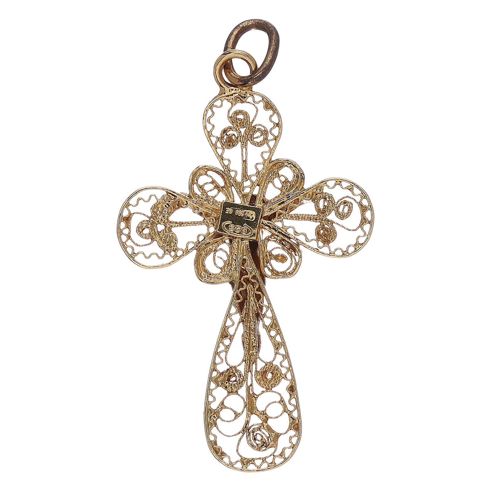 Croce 3 cm filigrana in argento 925 dorato 4