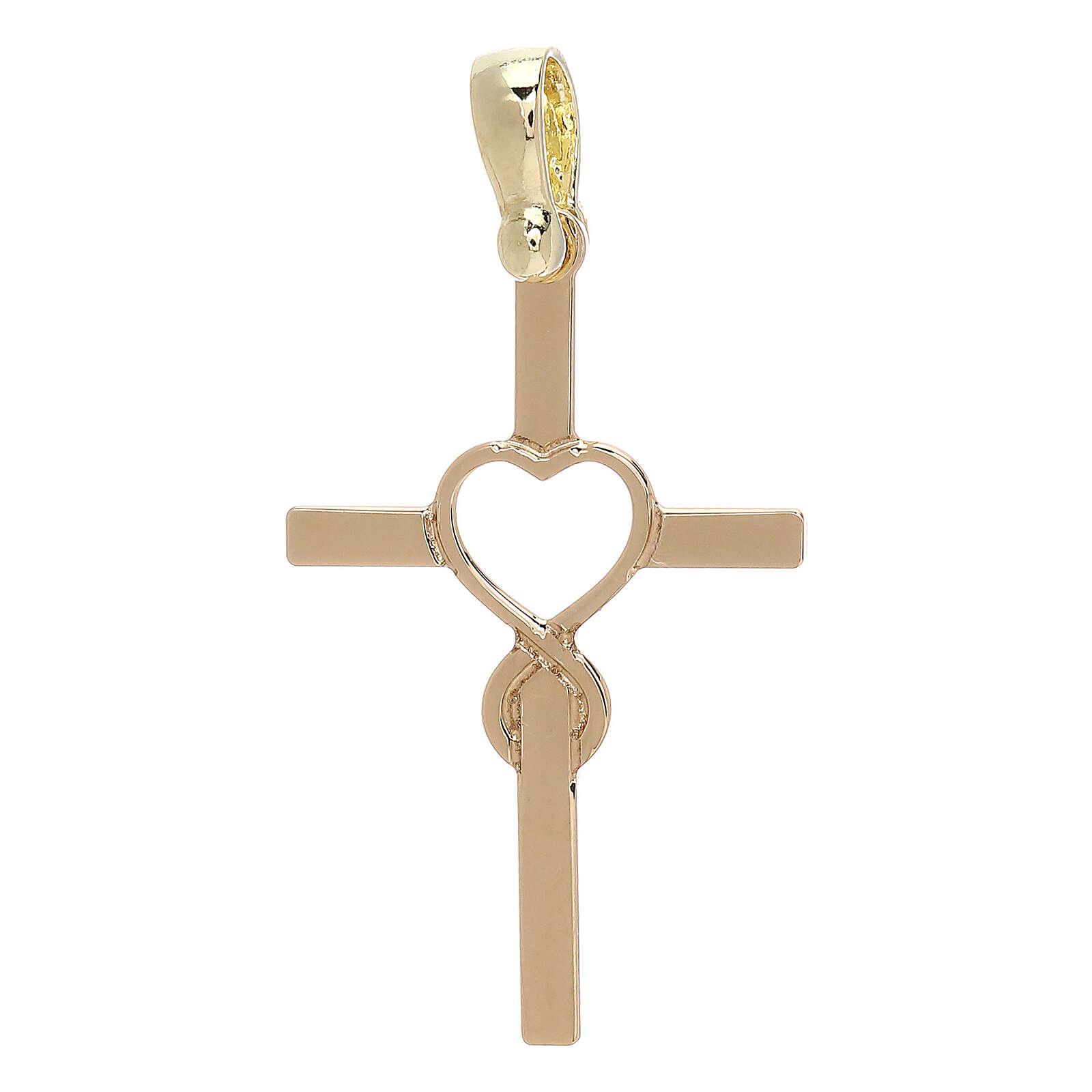 Cruz motivo infinito en forma de corazón amarillo oro 18 k - gr 1,13 4