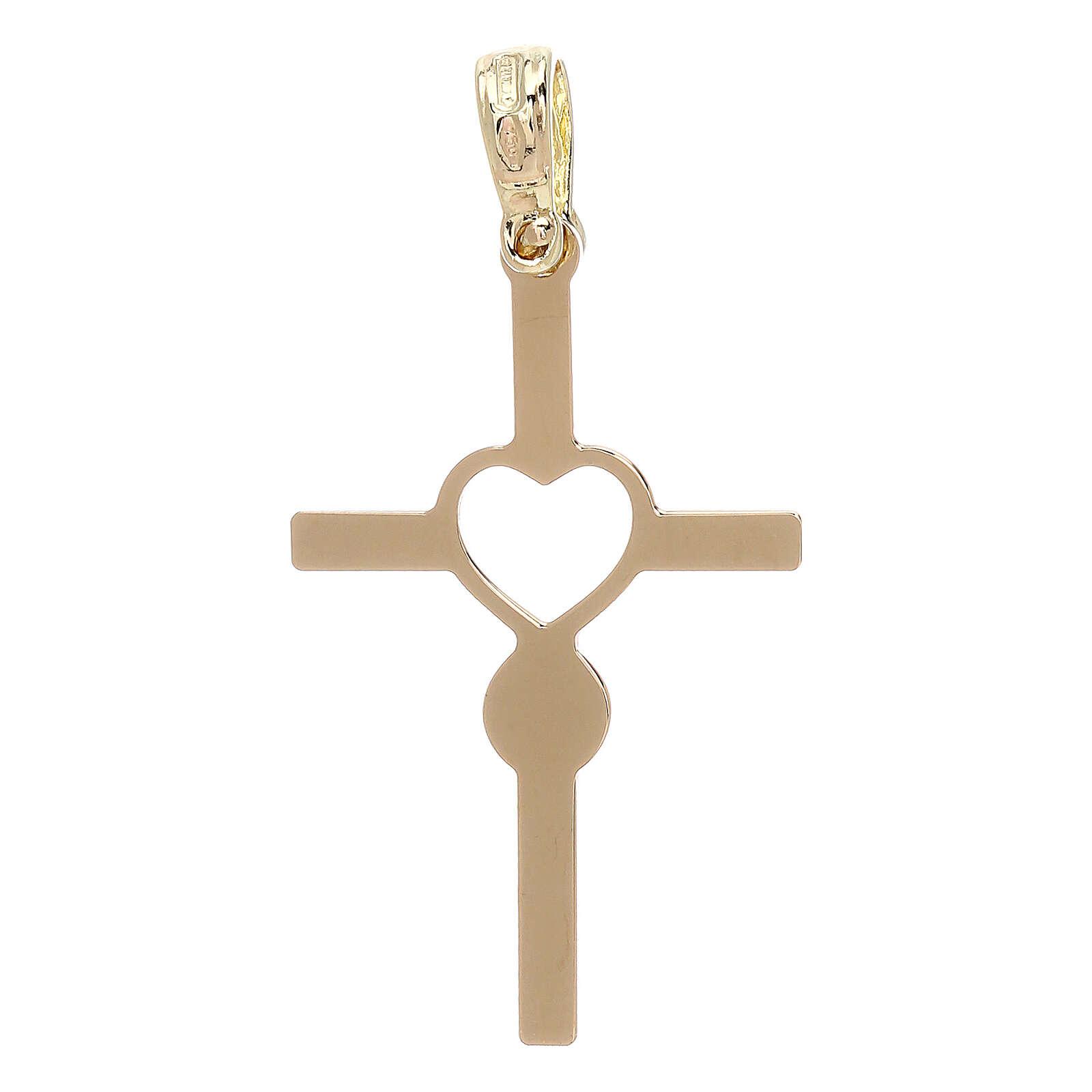Cross heart shaped infinity yellow 18-carat gold 1.13 gr 4