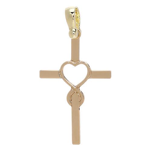Cross heart shaped infinity yellow 18-carat gold 1.13 gr 1