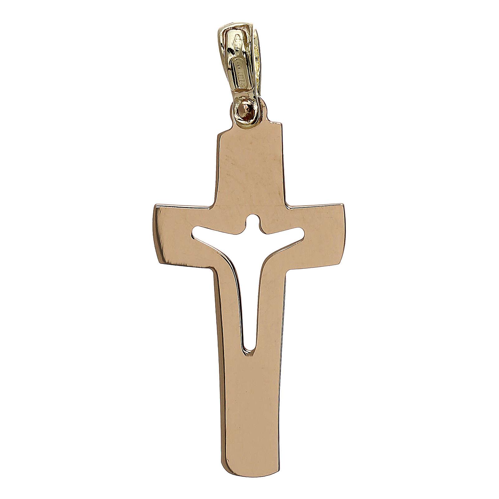 Cruz con Cristo perforado oro 18 k - gr 1,53 4