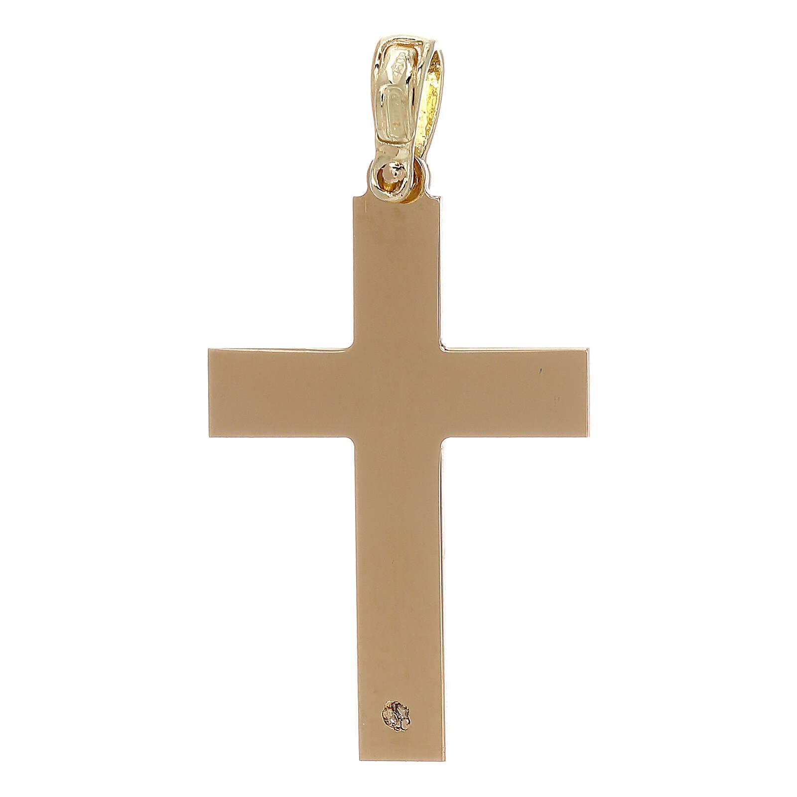 Cruz con incisión trenza oro 18 k - gr 2,03 4