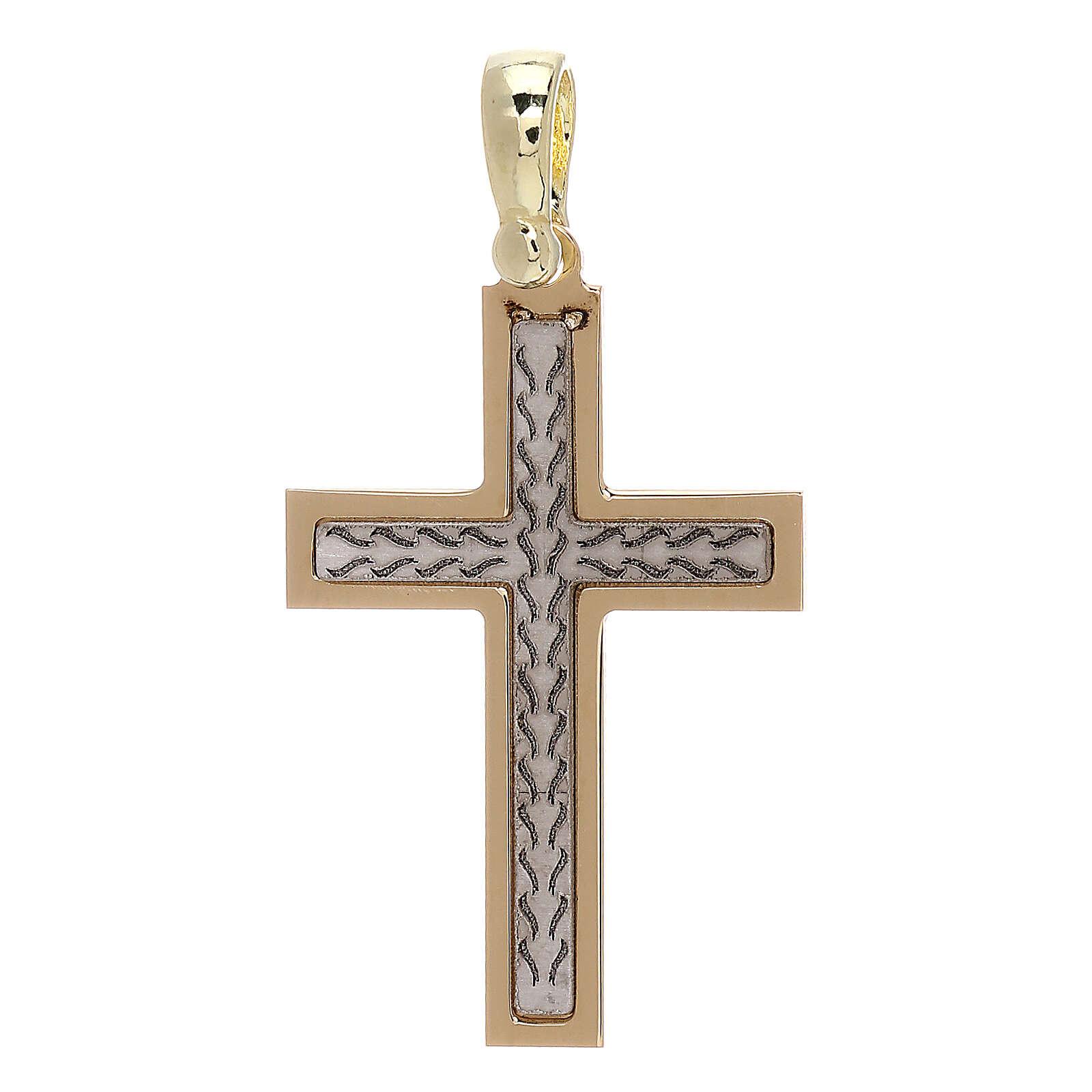 Croix avec gravure tresse or 18K 2,03 gr 4
