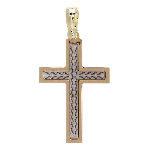 Croix avec gravure tresse or 18K 2,03 gr 1