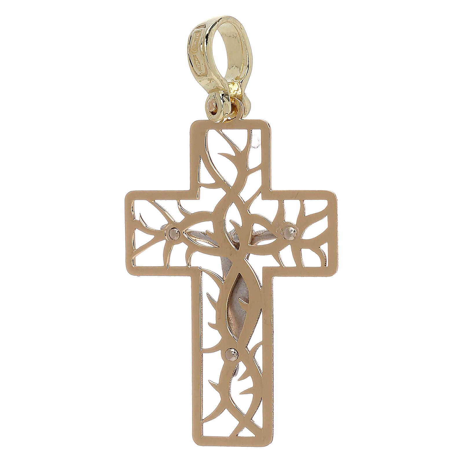Croix bicolore avec épines or 18K 3,03 gr 4