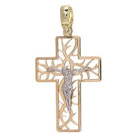 Croix bicolore avec épines or 18K 3,03 gr s1