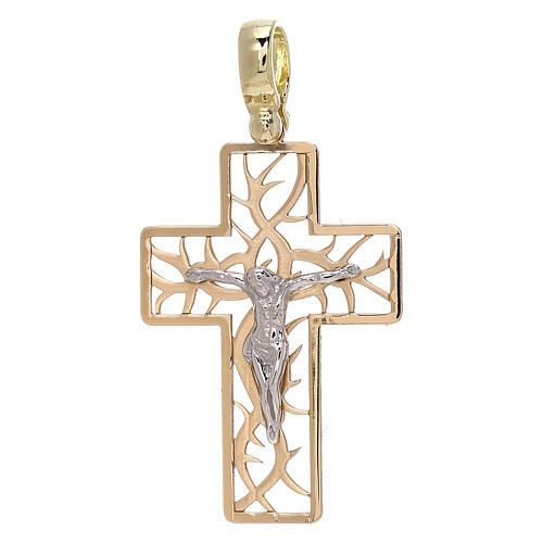 Croix bicolore avec épines or 18K 3,03 gr 1