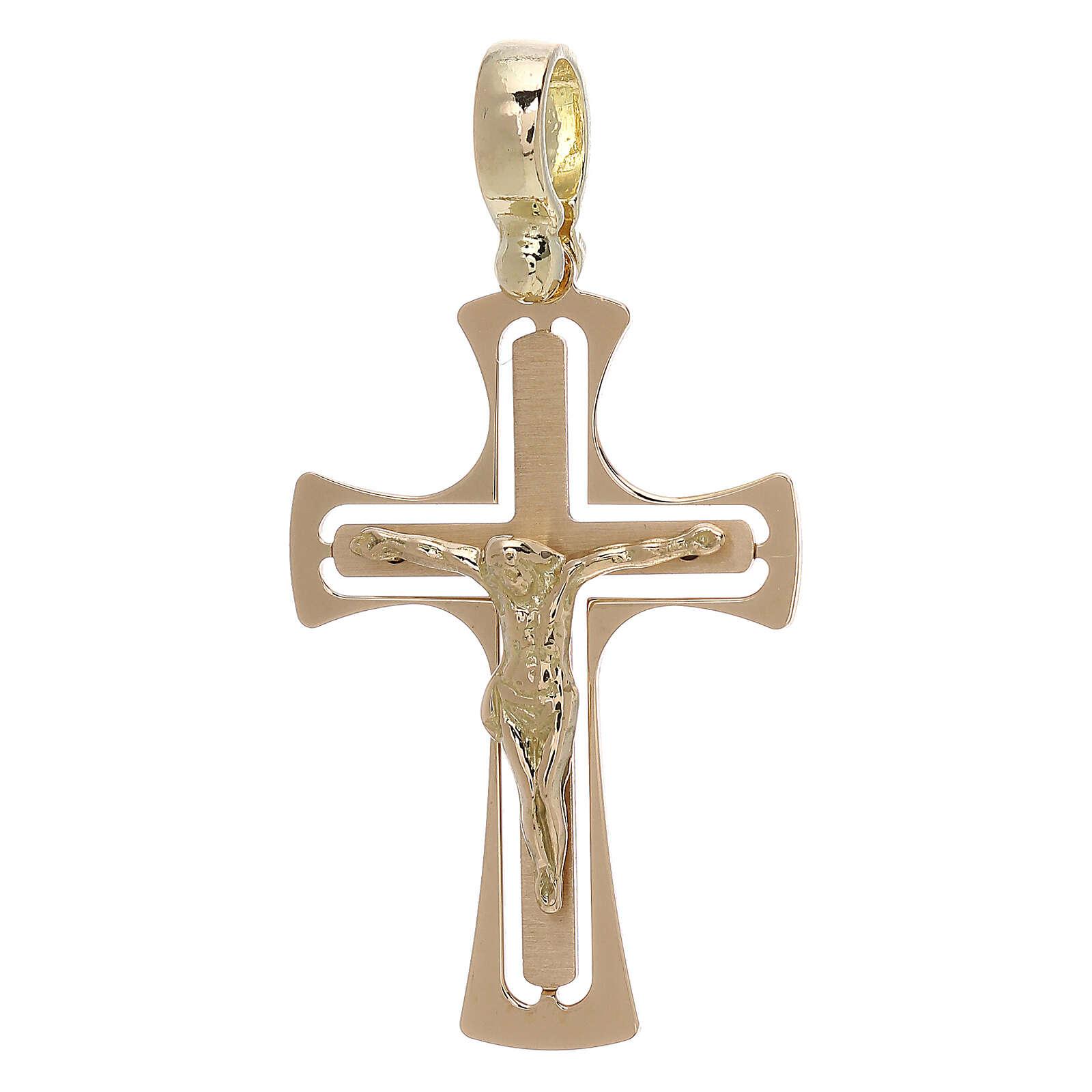 Cruz perforada redondeada con Cristo oro 18 k - gr 3,40 4