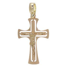 Cruz perforada redondeada con Cristo oro 18 k - gr 3,40 s1