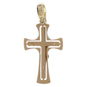 Cruz perforada redondeada con Cristo oro 18 k - gr 3,40 s2