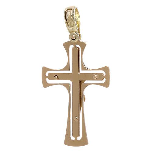 Cruz perforada redondeada con Cristo oro 18 k - gr 3,40 2