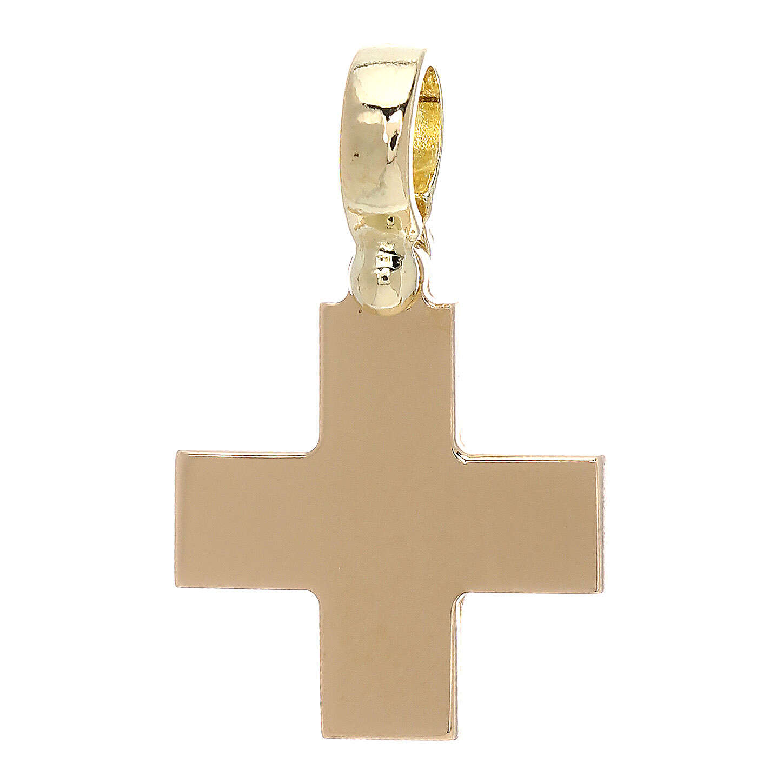 Croix carrée jaune brillante or 18K 4 gr 4