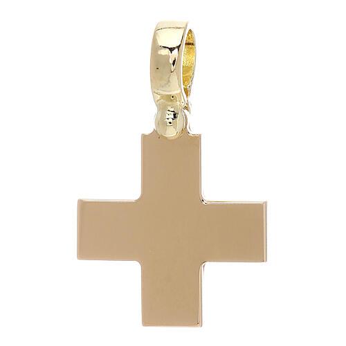 Croix carrée jaune brillante or 18K 4 gr 1