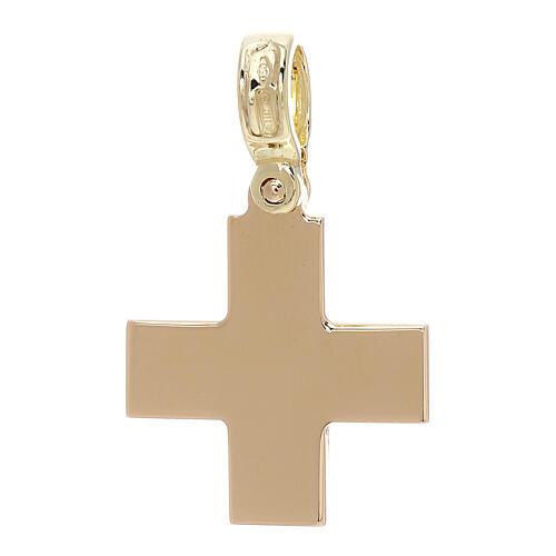 Croix carrée jaune brillante or 18K 4 gr 2