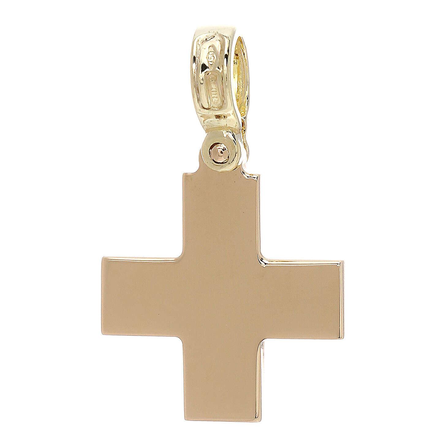 Croce quadrata gialla lucida oro 18 kt - gr 4 4