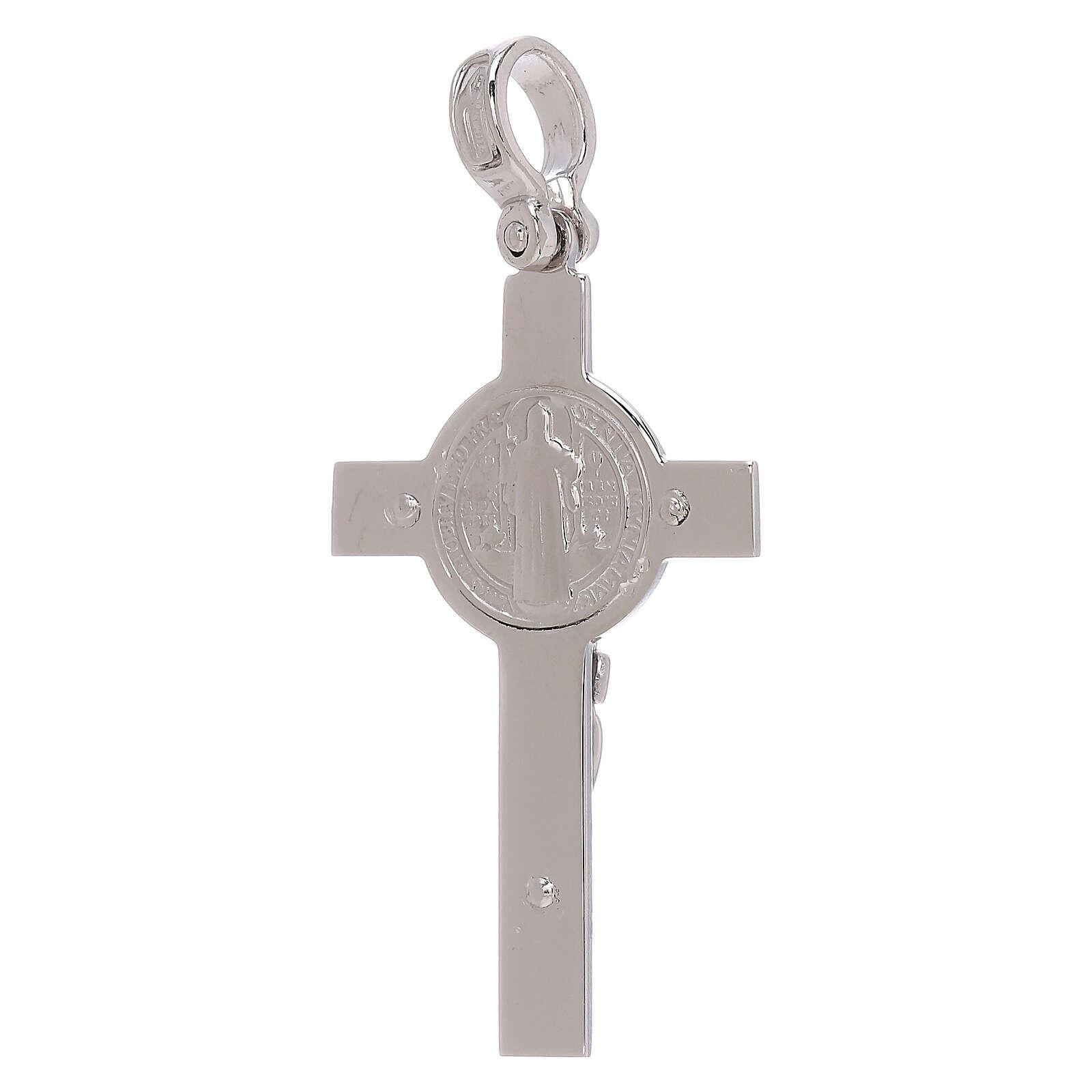 Croce San Benedetto bianca rodiata oro 18 kt - gr 4,48 4