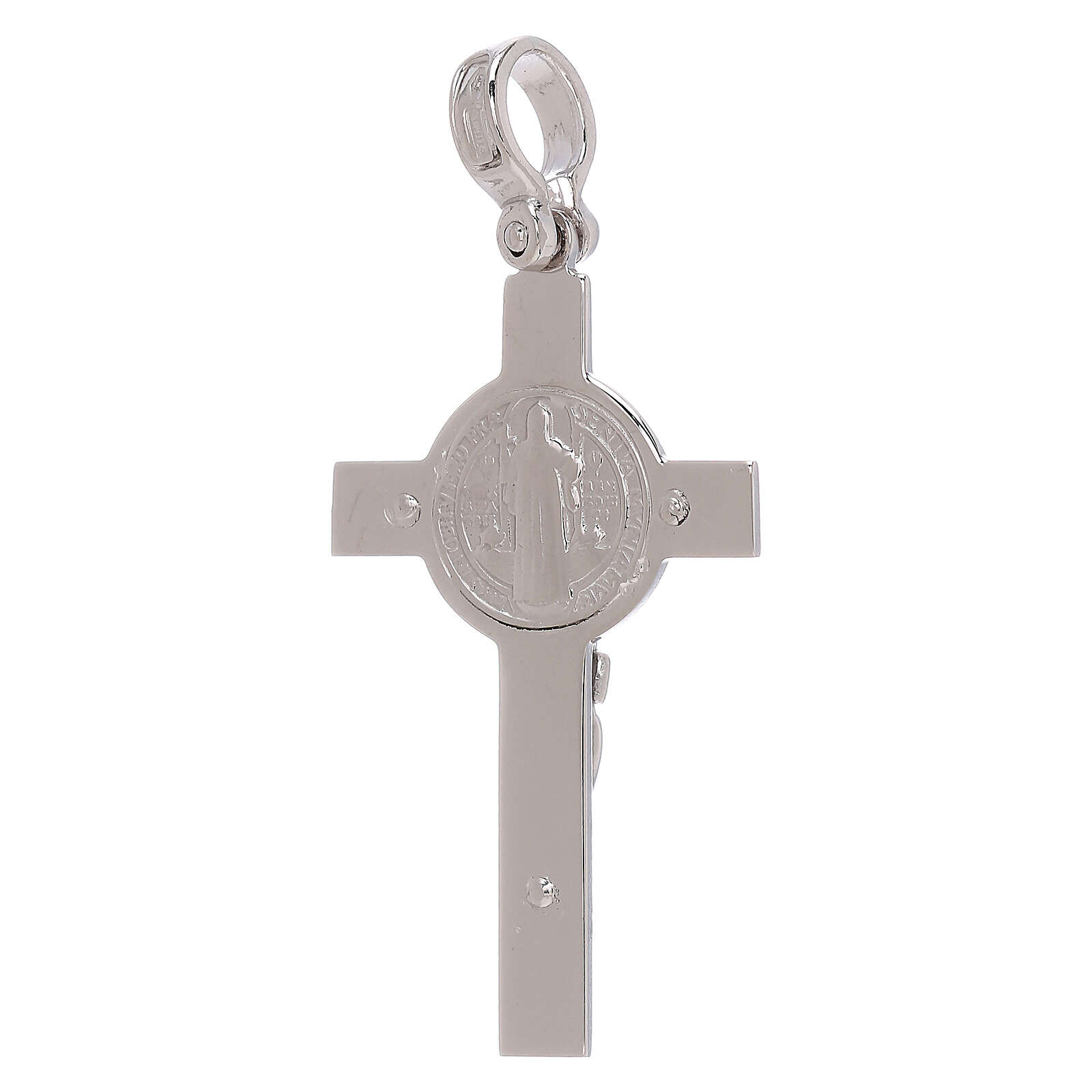 Saint Benedict cross white 18-carat gold finished in rhodium 4.48 gr 4