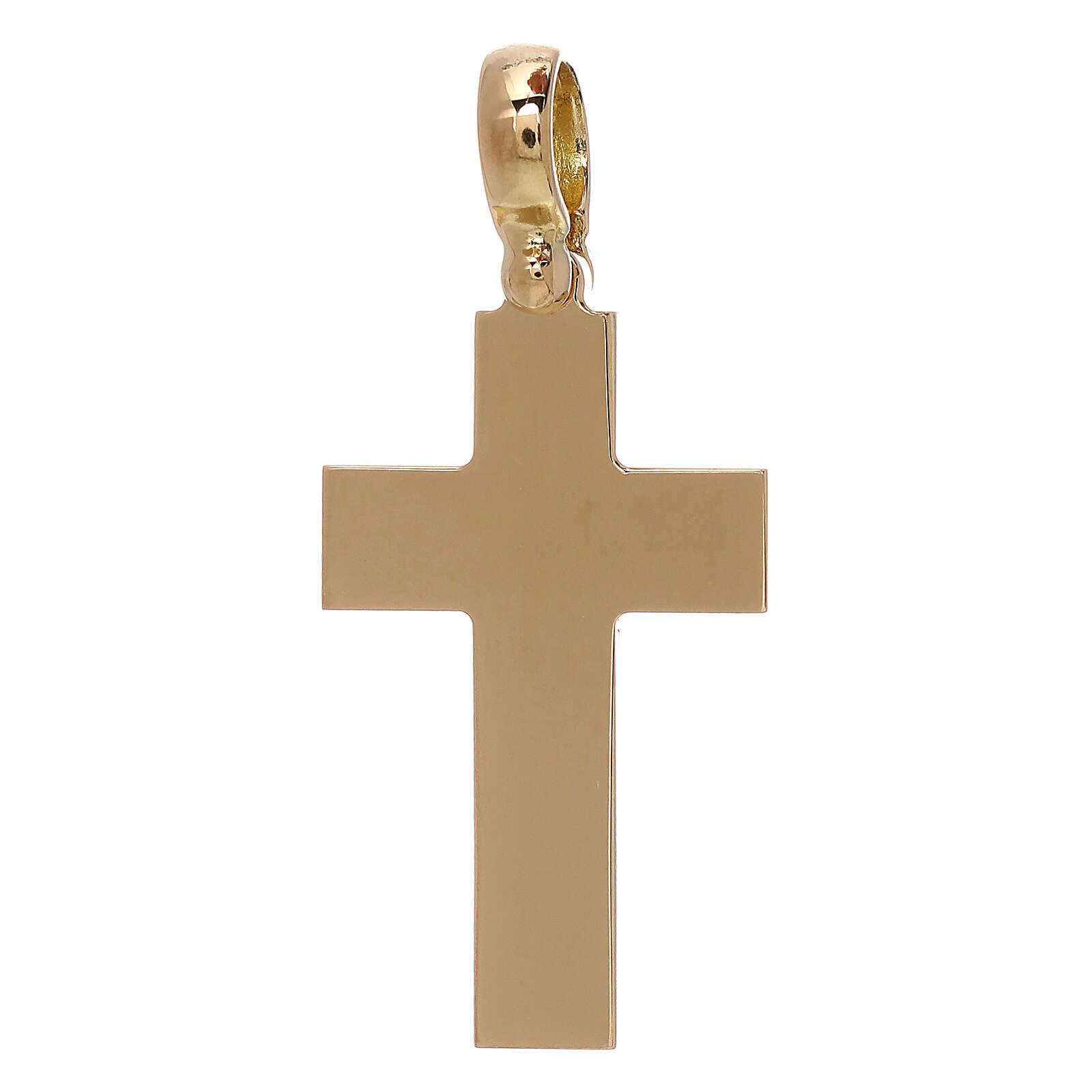 Croce latina pendente liscia oro 18 kt - gr 5,13 4