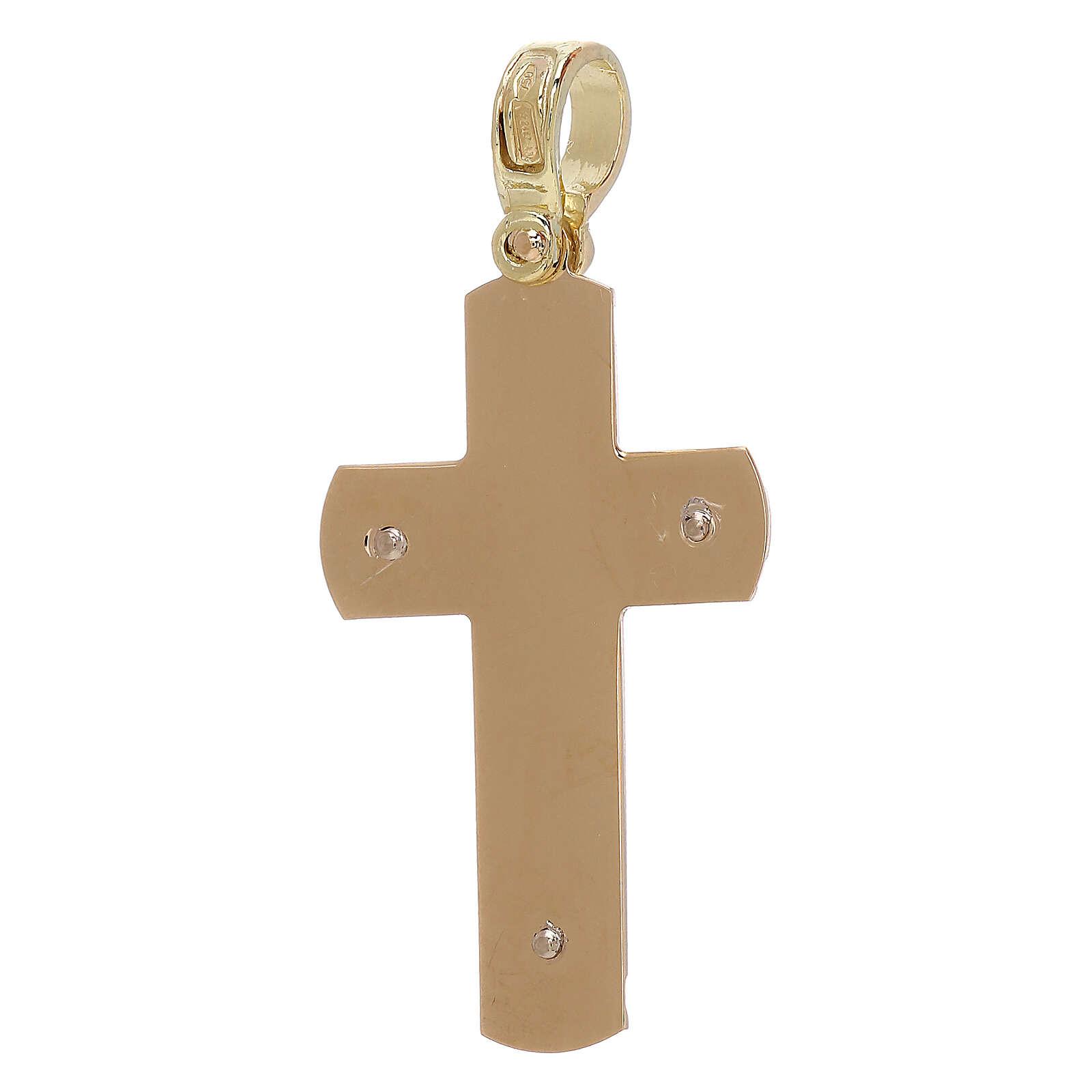 Croix pendentif gravée avec Christ or 18K 3,68 gr 4