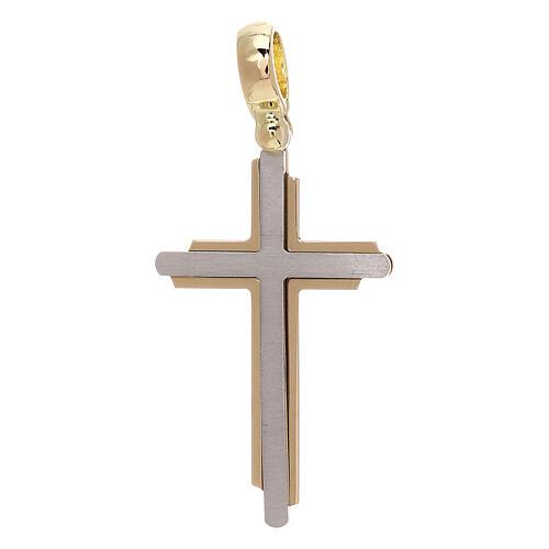 Croce base irregolare oro giallo e bianco 18 carati - gr 2,75 1