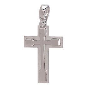 Croix pendentif or blanc relief brillant 18K 3,2 gr s1