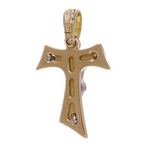 Croce Tau pendente oro 18 carati Cristo - gr 2,55 2