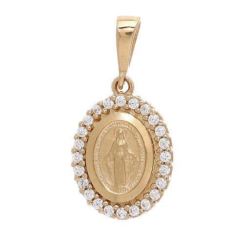 Colgante Virgen Milagrosa oro 18 k Swarovski blancos 1,7 gramos 1