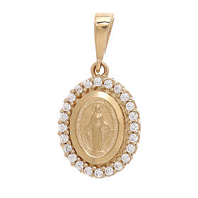 Pendente Madonna Miracolosa oro 18 kt Swarovski bianchi 1,7 grammi s1
