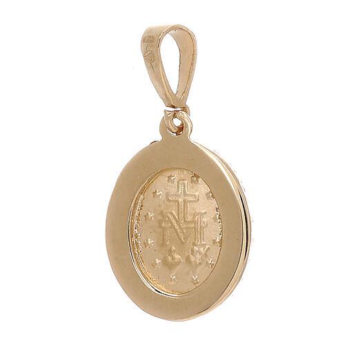 Pendente Madonna Miracolosa oro 18 kt Swarovski bianchi 1,7 grammi 2