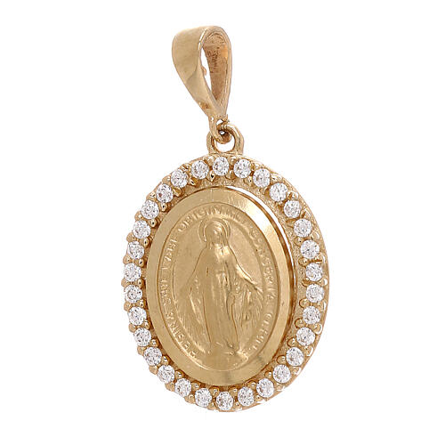 Pendentif Médaille Miraculeuse or jaune Swarovski 2,6 gr 1