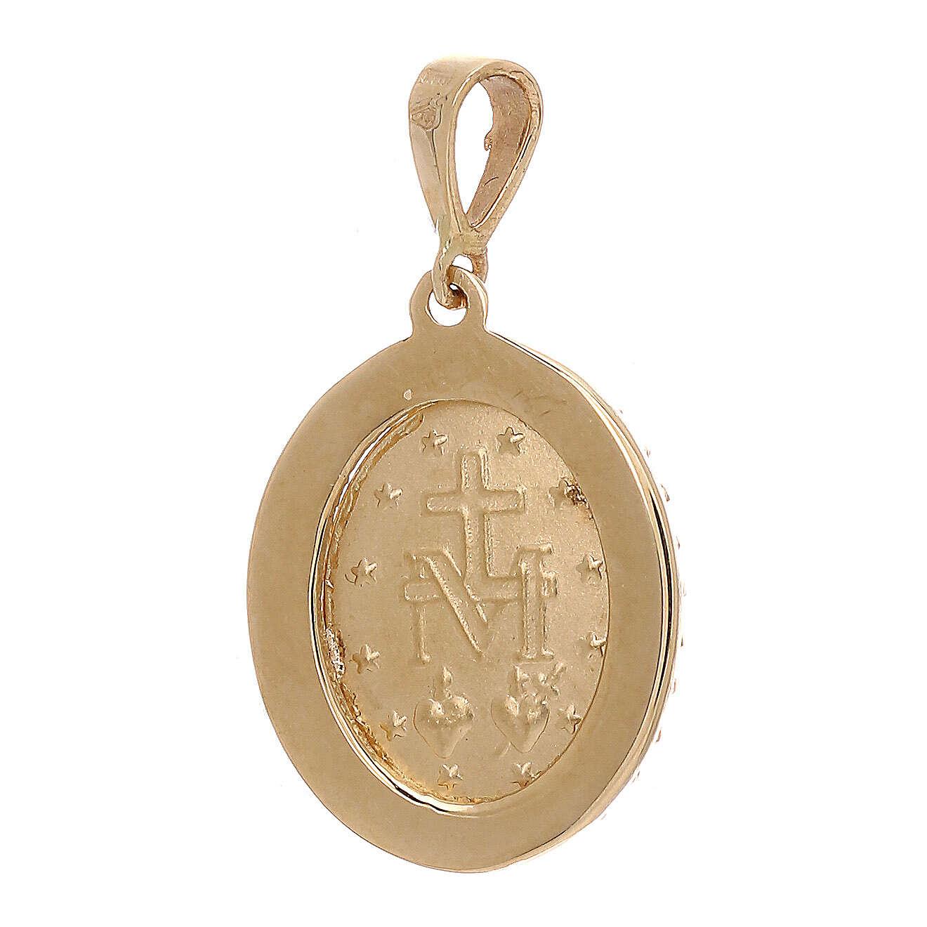 Pingente Medalha Milagrosa ouro amarelo Swarovski 2,6 gr 4