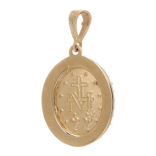 Pingente Medalha Milagrosa ouro amarelo Swarovski 2,6 gr 2