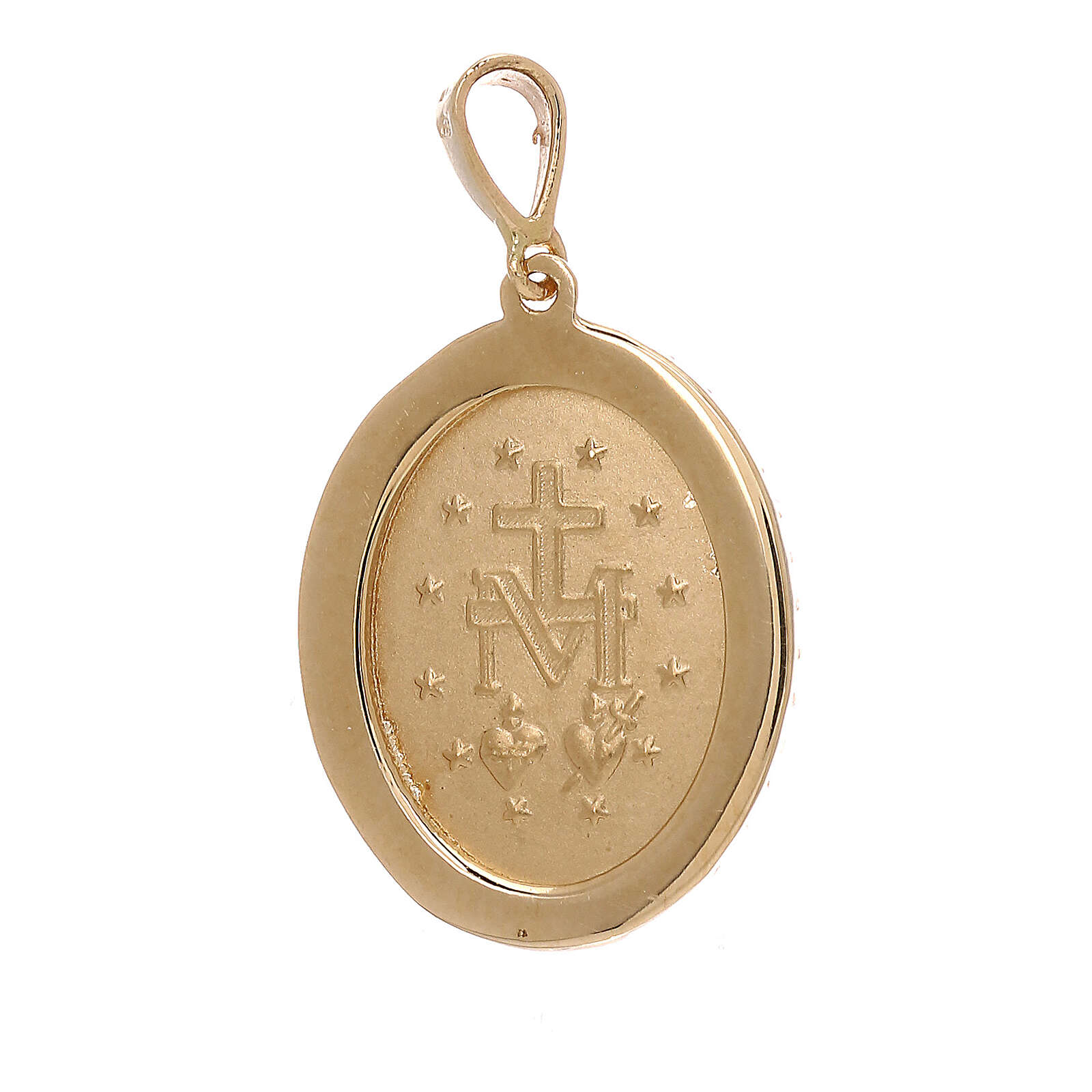 Pendentif Médaille Miraculeuse or jaune 18K Swarovski 3,4 gr 4