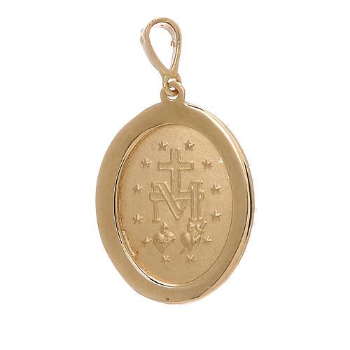 Pendentif Médaille Miraculeuse or jaune 18K Swarovski 3,4 gr 2