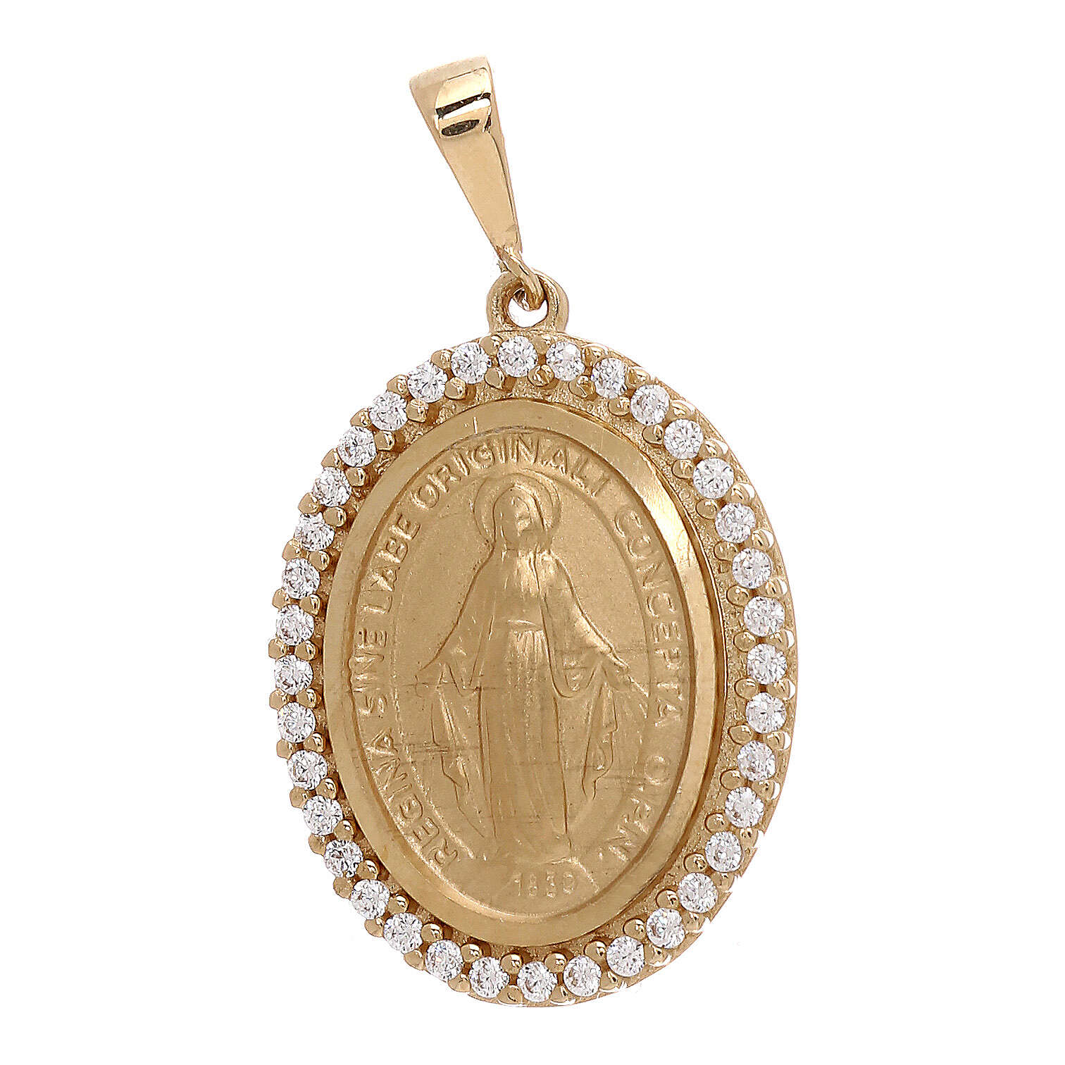Ciondolo Medaglia Miracolosa oro giallo 18 kt Swarovski 3,4 grammi 4