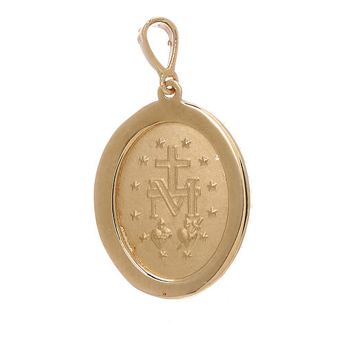 Ciondolo Medaglia Miracolosa oro giallo 18 kt Swarovski 3,4 grammi 2