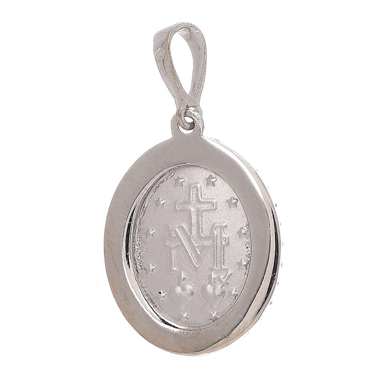 Colgante Medalla Milagrosa oro blanco 18 quilates Swarovski 2,5 gramos 4