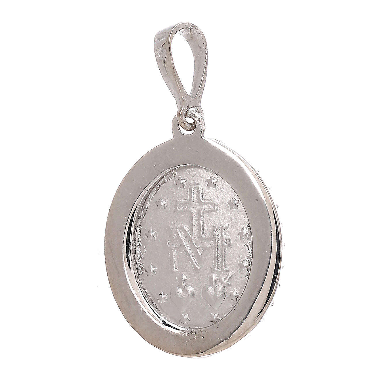 Miraculous Medal pendant 18-carat white gold Swarovski crystals 2.5 gr 4