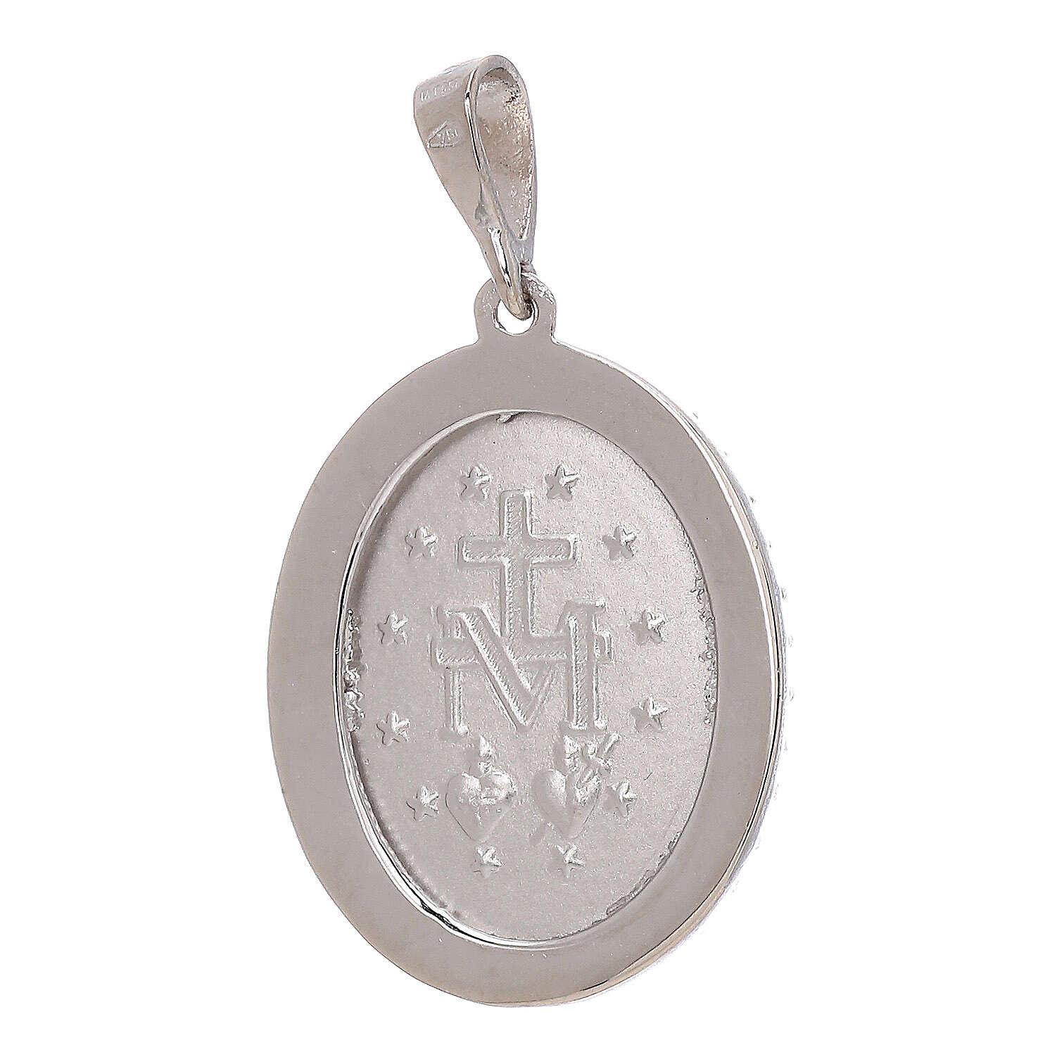 Pendente Medaglia Miracolosa Swarovski oro bianco 750/00 3,4 grammi 4