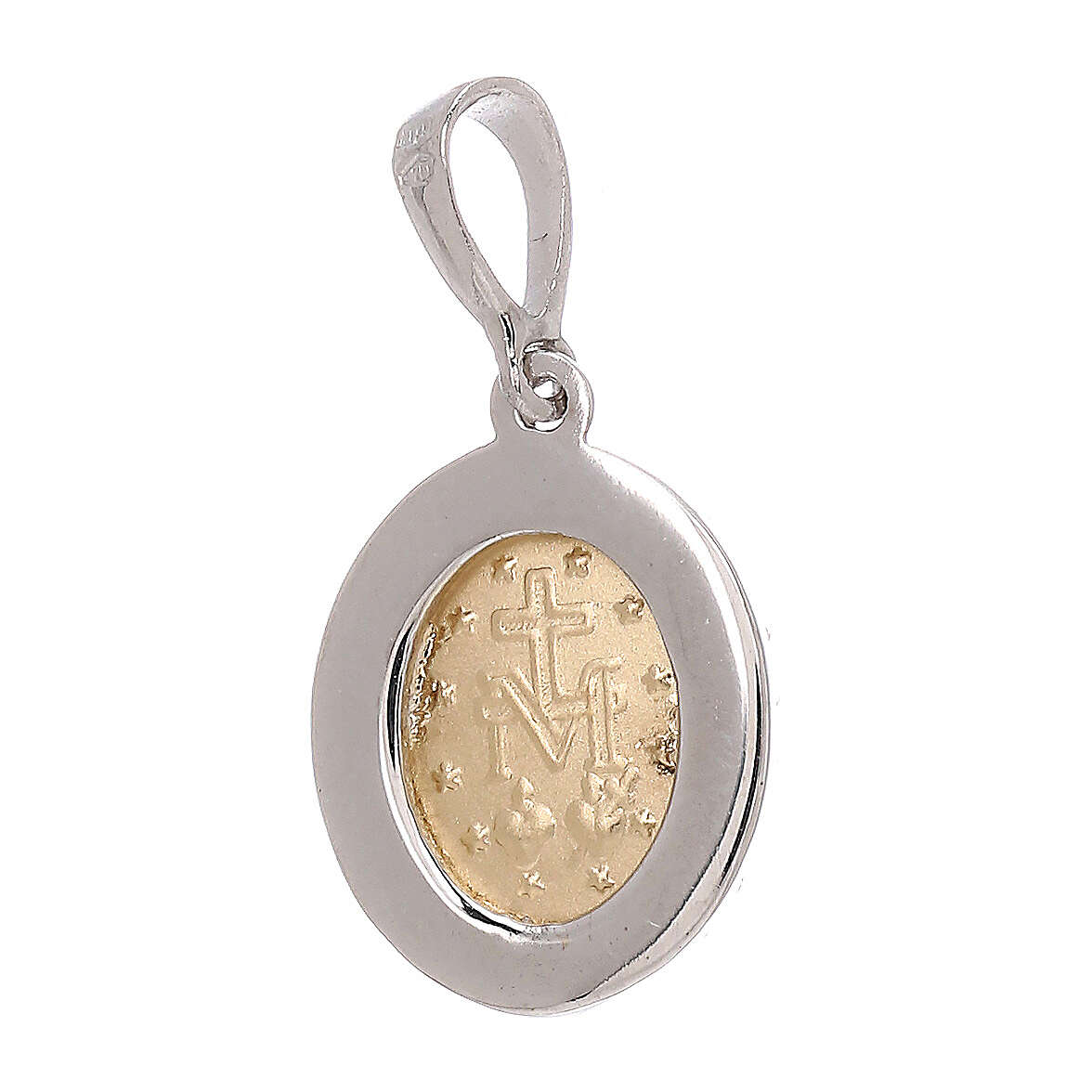Ciondolo bicolore Swarovski oro 750/00 Madonna Miracolosa 1,75 grammi 4