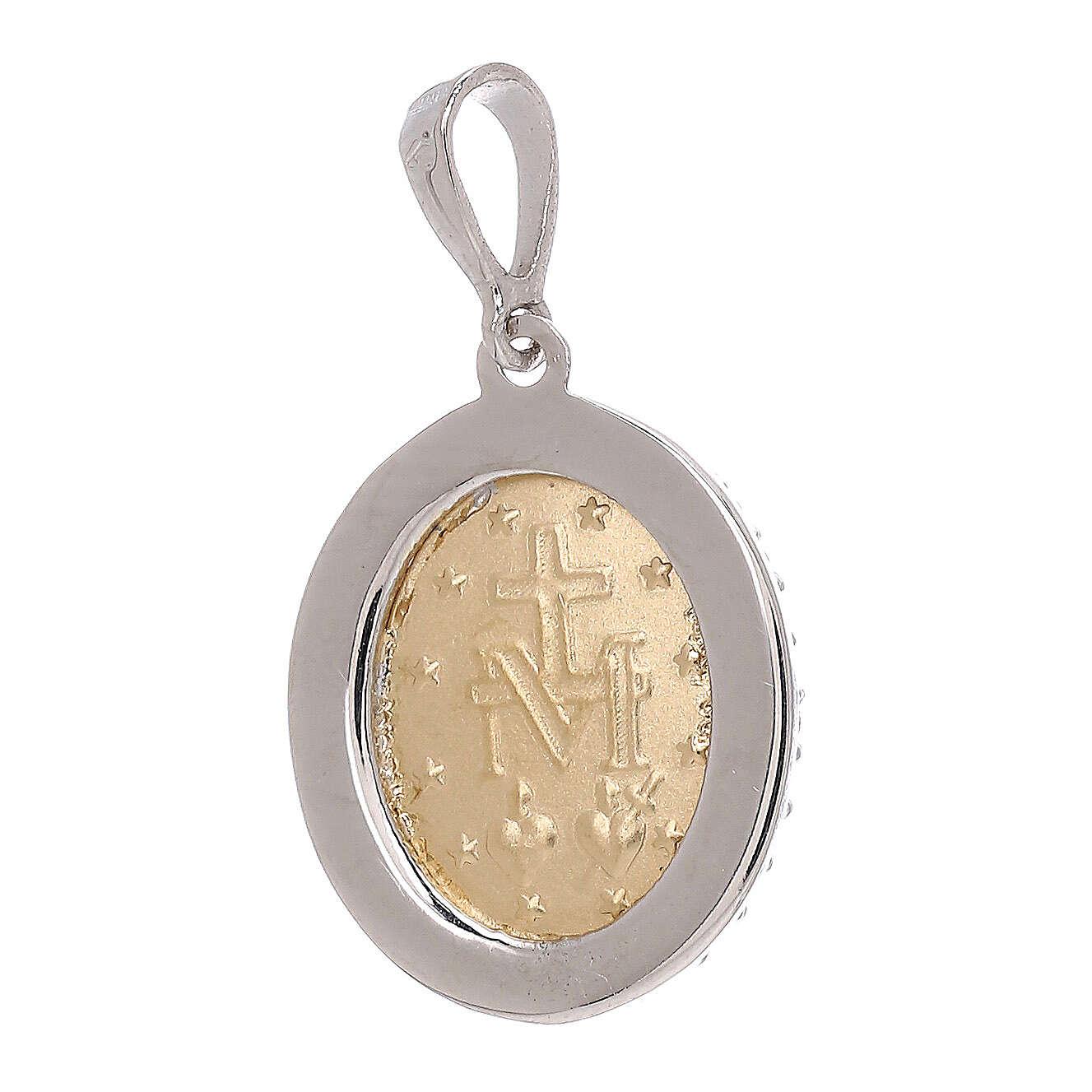 Miraculous Medal bicolor pendant 18-carat white Swarovski crystals 2.5 gr 4