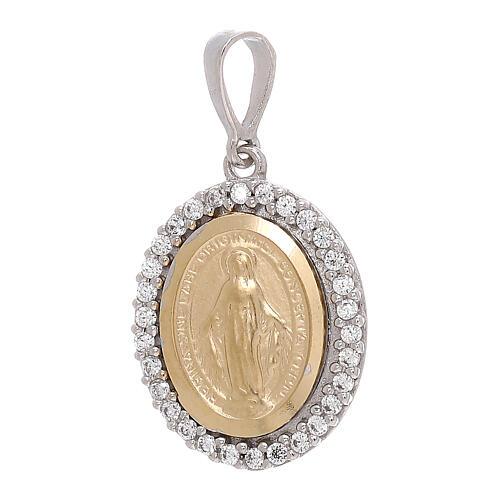 Miraculous Medal bicolor pendant 18-carat white Swarovski crystals 2.5 gr 1