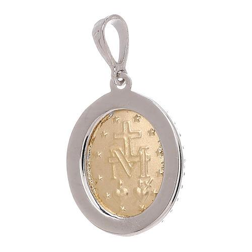 Miraculous Medal bicolor pendant 18-carat white Swarovski crystals 2.5 gr 2