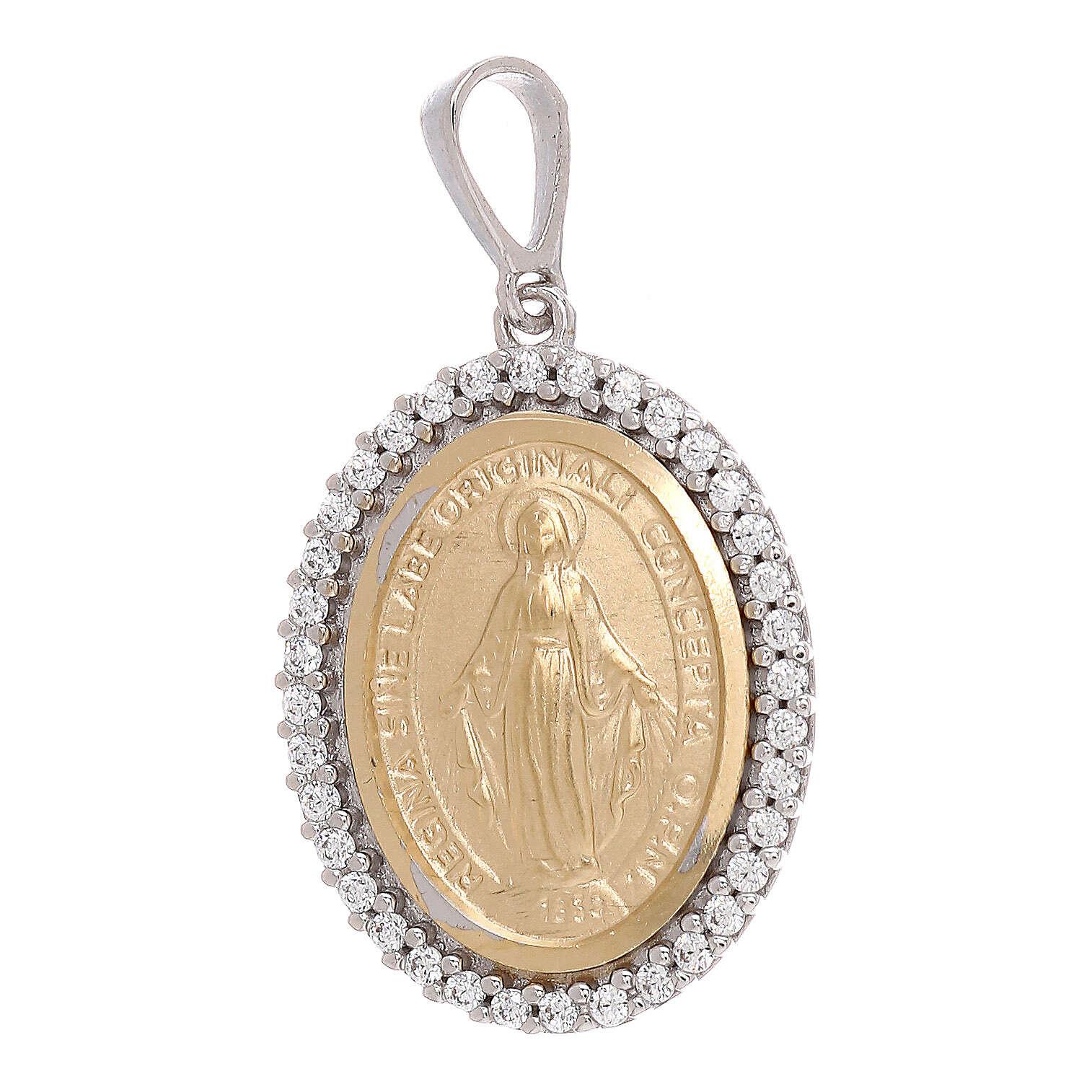 Medaglia Miracolosa pendente oro 750/00 bicolore Swarovski 3,35 grammi 4