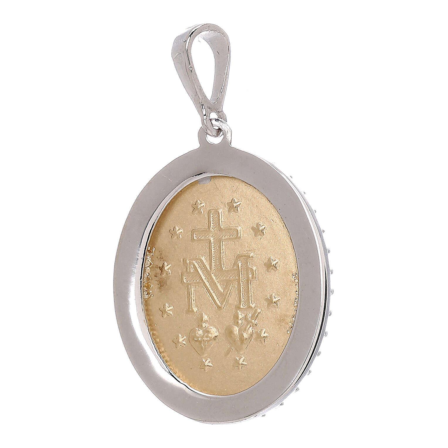 Miraculous Medal bicolor pendant 750/00 gold white Swarovski crystals 3.35 gr 4